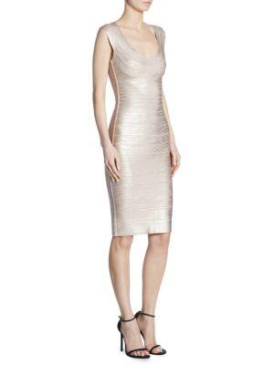 Metallic Scoopneck Bodycon Dress