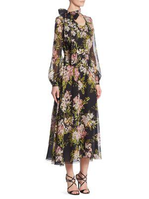 Garden Floral Silk Dress