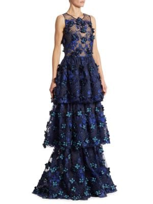 Tiered Embroidered Gown