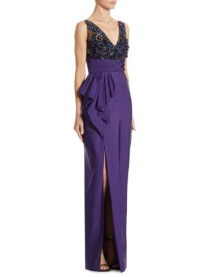 Beaded Draped Faille Gown