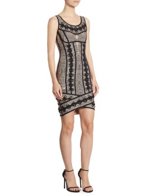 Jacquard Lace-Up Dress