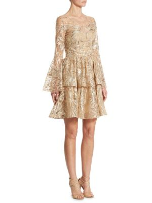 Metallic Embroidered Bell Sleeve Dress