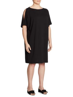 Plus Size Solid Cold Shoulder Shift Dress
