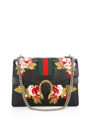 Dionysus Rose-Embroidered Leather Shoulder Bag