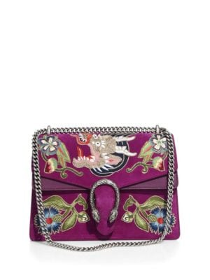 Dionysus Embroidered Suede Shoulder Bag