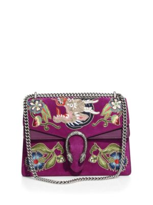 Dionysus Embroidered Suede Shoulder Bag