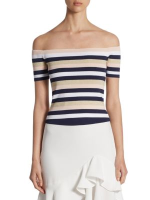 SCRIPTED Striped Rib-Knit Off-The-Shoulder Sweater