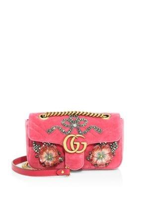 GG Marmont Mini Embroidered Velvet Chain Shoulder Bag