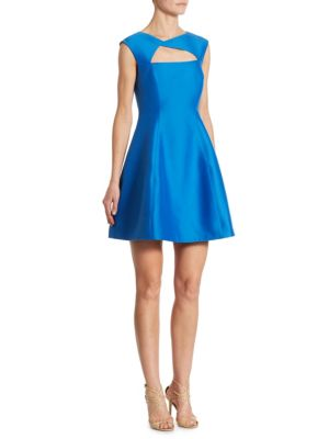 Silk and Cotton Cutout Fit and Flare Dress