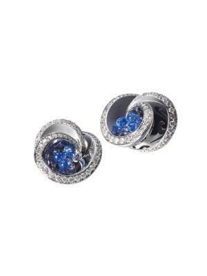 Chiocciolina 18K White Gold, Sapphire & Icy Diamond Earrings