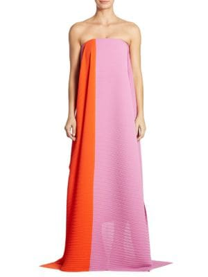 Alette Pleated Strapless Gown