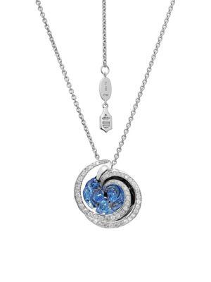 Chiocciolina 18K White Gold, Sapphire & Icy Diamond Necklace