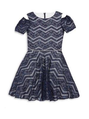 Little Girl's & Girl's Sequined Mesh Cold Shoulder Dress