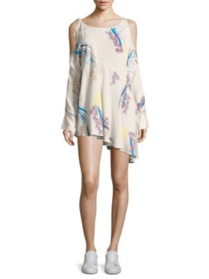Clear Skies Cold-Shoulder Floral Printed Tunic