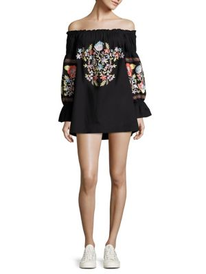 Buy Free People Fleur Du Jour Off-the-Shoulder Embroidered Dress online with Australia wide shipping