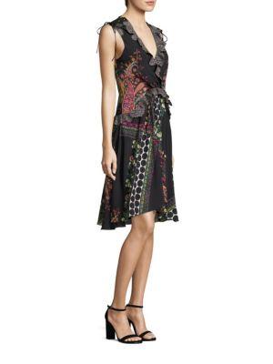 Paisley & Polka Dot Lace-Trimmed V-Neck Dress