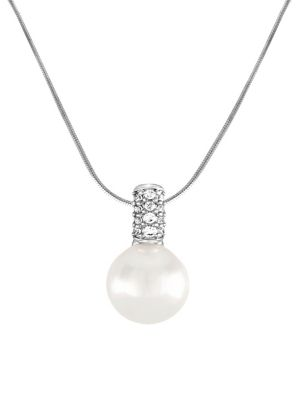 12mm White Pearl, Cubic Zirconia and Sterling Silver Necklace