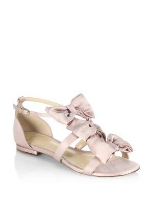 Cori Triple Bow Satin Flat Sandals