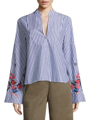 Klara Embroidered Striped Top by Tanya Taylor