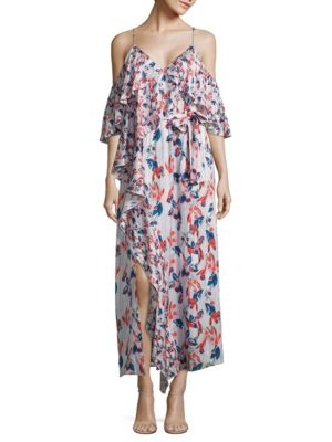 Lorena Cold Shoulder Ikat Striped Silk Dress