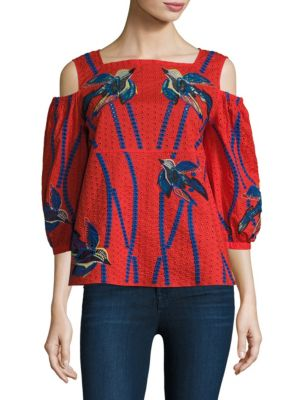 Bird Embroidered Cotton Cold Shoulder Top by Tanya Taylor
