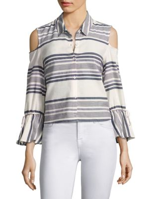 Striped Cold-Shoulder Bell Sleeve Shirt