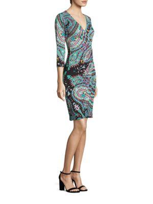 Paisley Jersey Faux-Wrap Dress