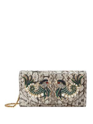 GUCCI Embroidered Leather Chain Clutch