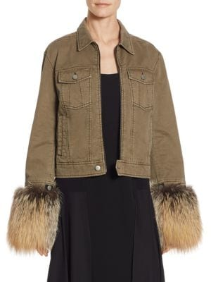 Ameerah Fox Fur-Cuff Bomber Jacket