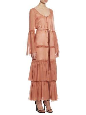 Della Tiered Silk Maxi Bell Sleeve Dress