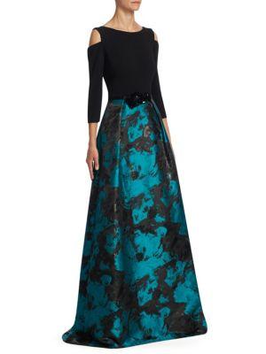 Cold Shoulder Jacquard Skirt Ballgown