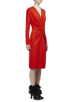 V-Neck Knot Waist Dress