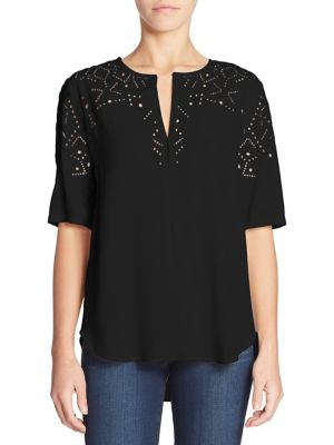 Antazie Eyelet Top by Theory