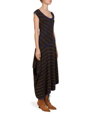 Wool Asymmetric Knit Dress