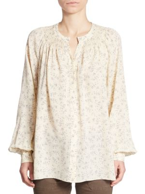 Long Sleeve Floral Print Top by Vince