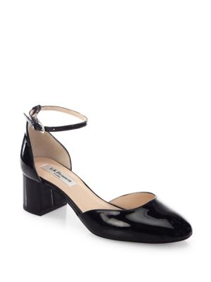 Andrea Patent Leather d'Orsay Ankle Strap Pumps