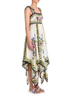 Floral Tile-Print Silk Shoulder-Tie Dress