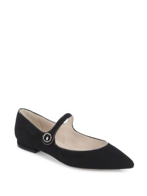 Suede Mary Jane Point Toe Flats