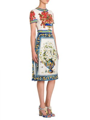 Floral Tile-Print Silk Charmeuse Sheath Dress
