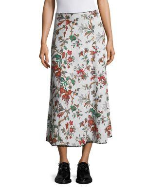 Floral-Print Flared Skirt