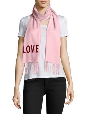 "SILK CASHMERE SCARF WITH SEQUIN ""LOVED"""