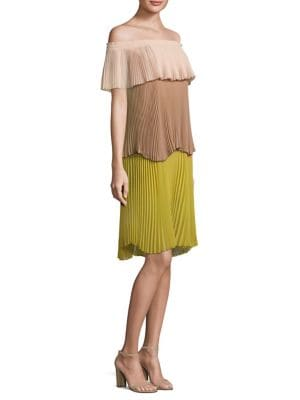 Dolly Pleated Tiered Off-The-Shoulder Dress