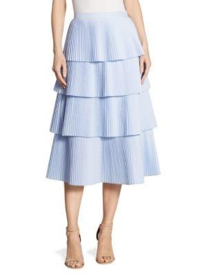 Lauren Pleated Tiered Midi Skirt
