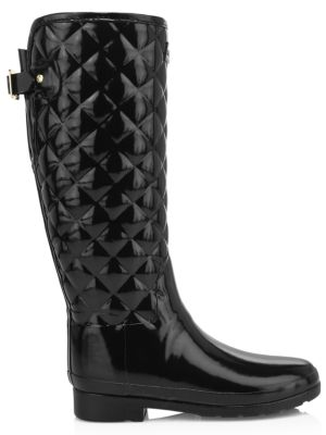 Refined Gloss Quilted Tall Rain Boots