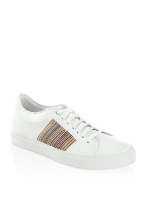 Striped Low Leather Sneakers