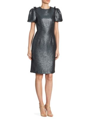 Metallic Puffy Sleeve Knee-Length Dress