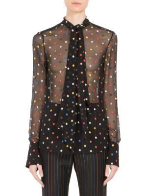 Multicolor Dot Fil Coupé Tie-Neck Blouse