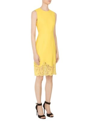 Lace-Hem Wool Sheath Dress