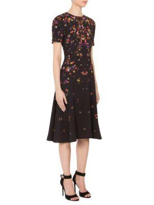 Anna Pansy-Print Cady Dress