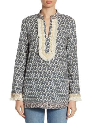 Fringed V-Neck Tunic by Tory Burch
